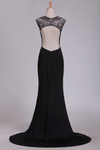 Spandex Scoop With Beads And Slit Open Back Sheath Prom Dresses Sweep Train