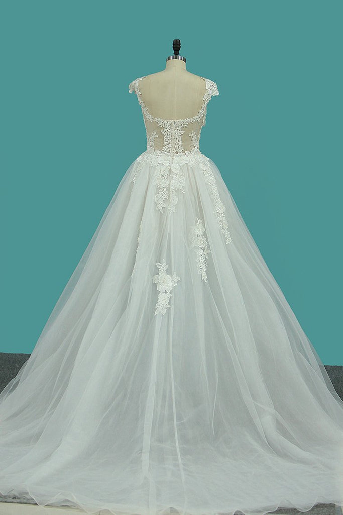 A Line Off The Shoulder Tulle Wedding Dresses With Applique