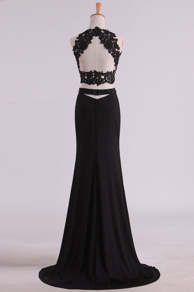 Black Two-Piece Scoop Open Back Prom Dresses Sheath Spandex