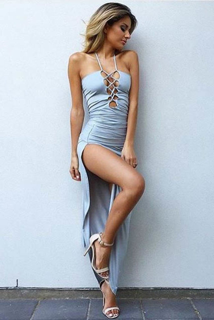 New Arrival Evening Dresses Sheath Spaghetti Straps Spandex With Slit