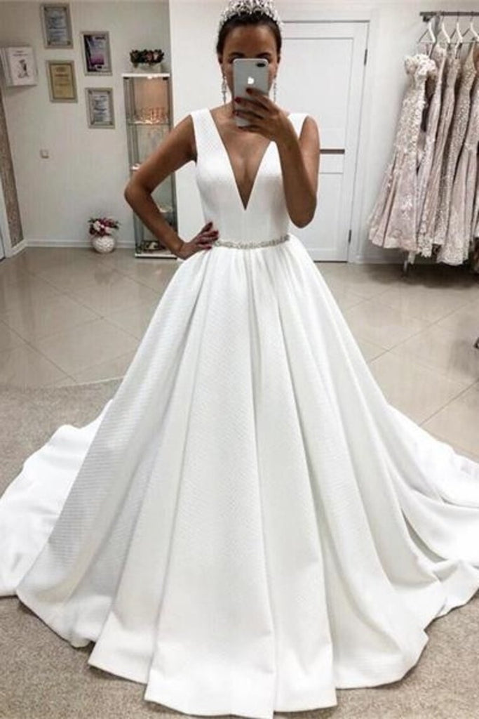 Elegant Deep V-Neck Simple Ball Gown Wedding Dresses Bridal Dresses