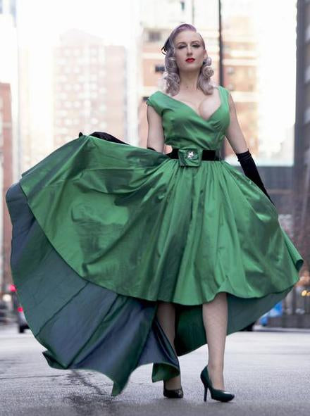 Elegant Sexy A-Line Deep V-neck Cap Sleeve High Low Green Taffeta Prom Dresses JS263