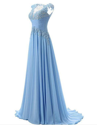 Fashion A-line Scoop Sweep Train Appliques Chiffon Sleeveless Light Blue Prom Dresses JS160
