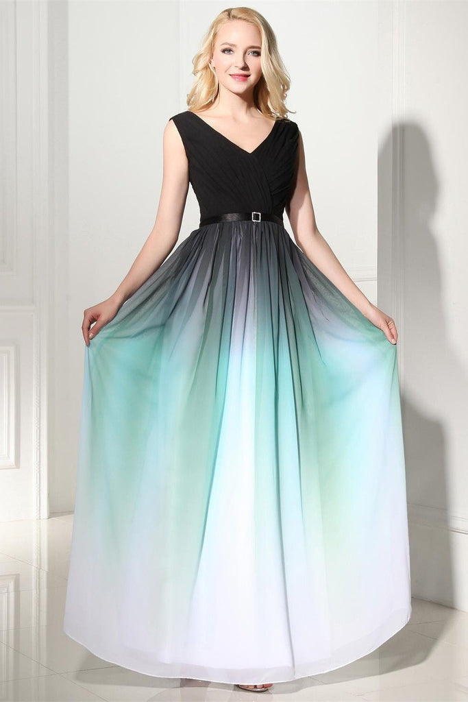 A Line Ombre Long Chiffon Formal Dress V Neck Prom Dresses UK