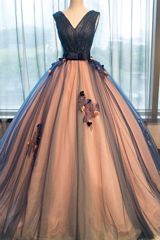 Chic Brown Long Ball Gown V-Neck Tulle Lace up Sleeveless Applique Prom Dresses UK JS370