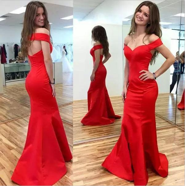 Mermaid Red Elegant Sweetheart Off Shoulder Satin Corset Open Back Prom Dresses JS194