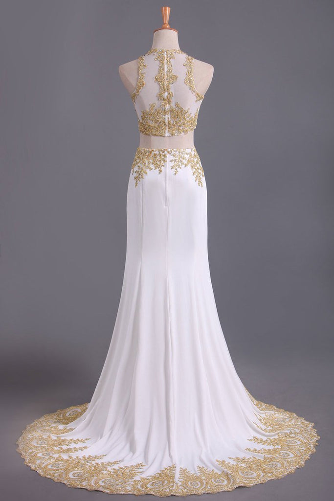 Two-Piece Scoop Mermaid Prom Dresses Chiffon With Gold Applique