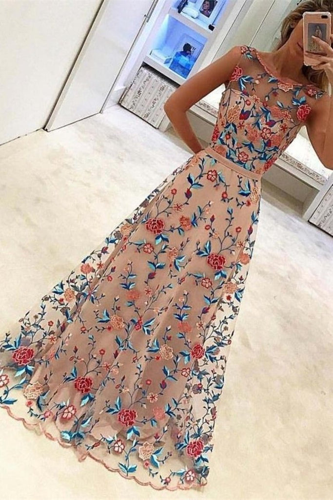 Gorgeous Long A-Line Scoop Neckline Embroidered Prom Dresses Evening Dresses