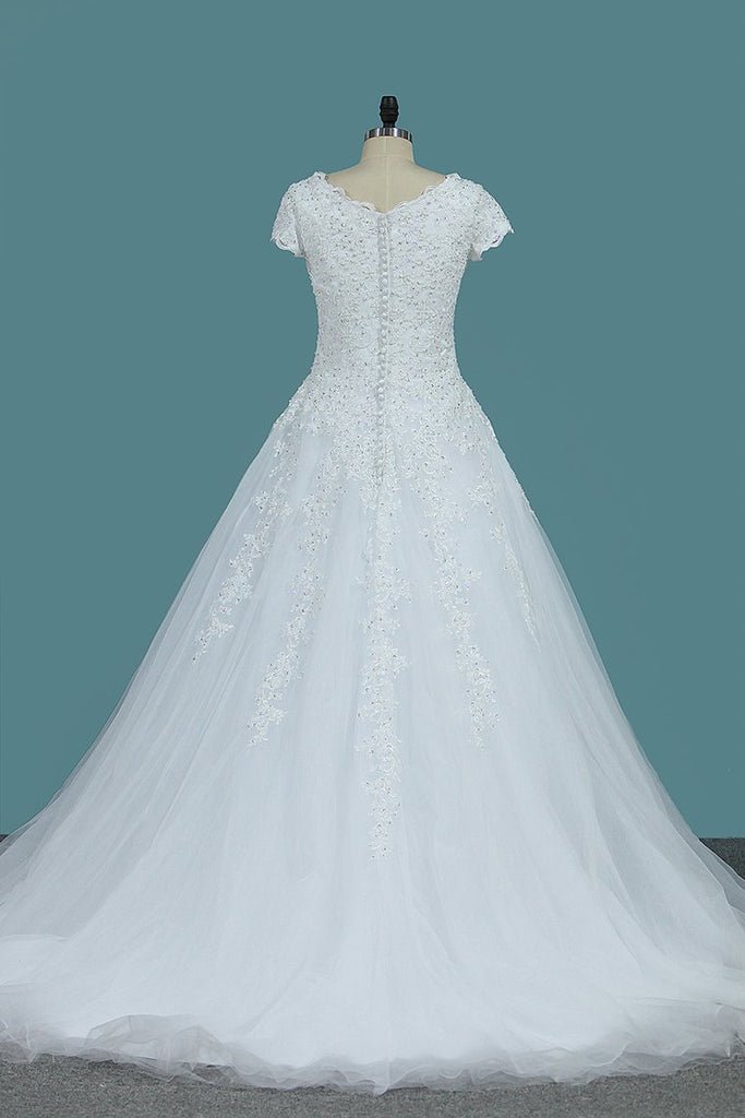 Tulle Wedding Dresses V Neck Short Sleeves With Applique Court Train