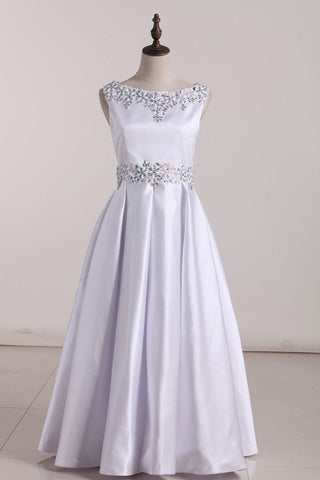 2019 New Arrival Scoop With Beading Satin Flower Girl Dresses