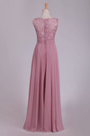 New Arrival Scoop Chiffon Floor Length A Line Prom Dresses