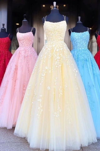 A Line Tulle Yellow Spaghetti Straps Prom Dresses with Appliques, Party SJS15613