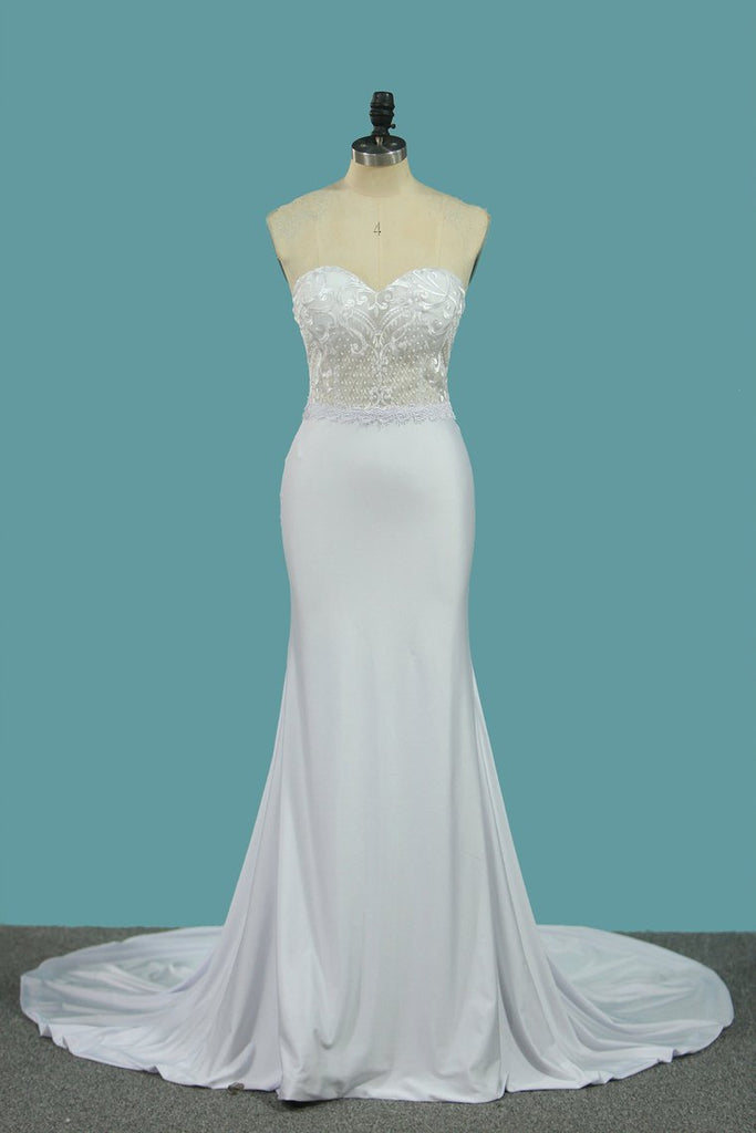 Mermaid Sweetheart Wedding Dresses Spandex & Lace Sweep Train