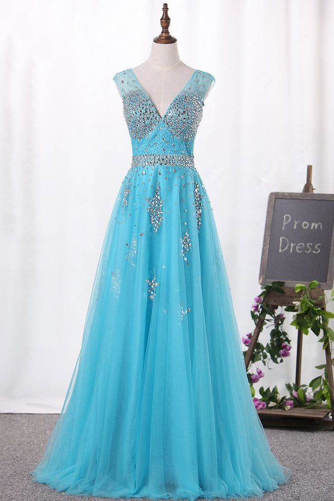 V-Neck A-Line Prom Dresses Tulle With Beadings Open Back Zipper Up