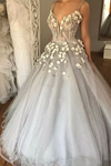 Ball Gown Spaghetti Straps Quinceanera Dresses With Handmade Flowers Tulle