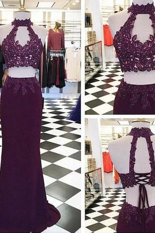 Beading Appliques Halter Stretch Satin Two Pieces Prom Dresses