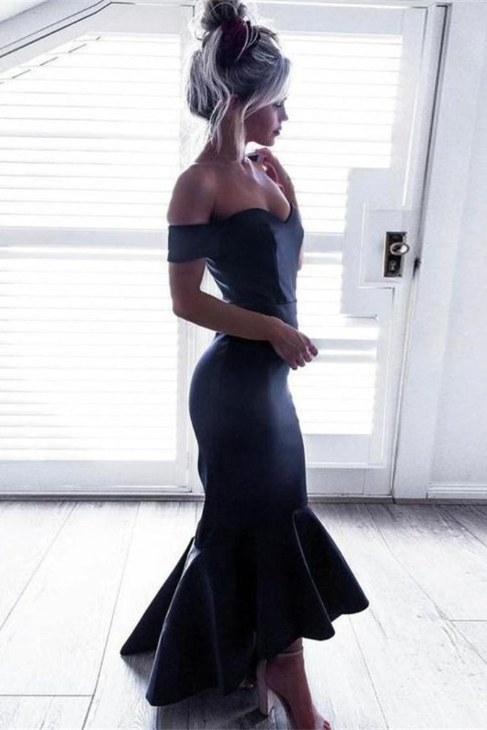 Charming Simple Mermaid Long Off The Shoulder Navy Blue Prom Dresses