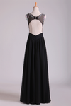 Scoop Prom Dresses A-Line Beaded Tulle Bodice Pick Up Long Chiffon Skirt
