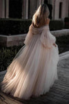 Princess Long Puff Sleeves Off The Shoulder Tulle Wedding Dresses, Beach Wedding Gowns