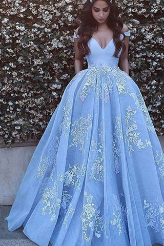 2019 Ball Gown Off The Shoulder Prom Dresses Tulle With Appliques