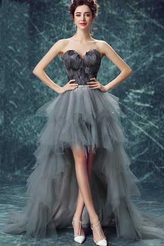 Elegant High Low Strapless Sweetheart Feathers Tulle Gray Prom Dresses with Lace SJS20415