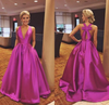 Cute A-line V Neck Satin Hot Pink Long Prom Dress with Ribbon Prom Dresses JS690
