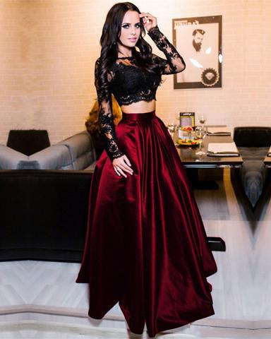 Black two pieces long sleeve prom dress A-line lace two pieces long prom dress