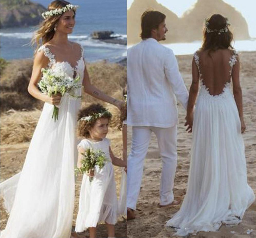 Backless Lace Open Back Sweetheart A-Line White Chiffon Sleeveless Beach Wedding Dresses JS981