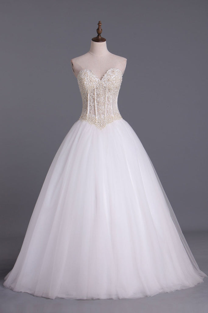 Wedding Dresses A-Line Sweetheart See Through Tulle With Pearls Lace Up Floor Length