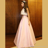 A Line Two Pieces Pink Long Satin Prom Dresses Evening Dresses