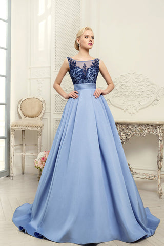 Scoop Blue A-Line Appliques Satin Backless Sleeveless Quinceanera Dress Prom Dresses UK JS456