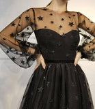 Cute Long Sleeve Tulle Above Knee Homecoming Dresses with Stars Short Dresses JS780