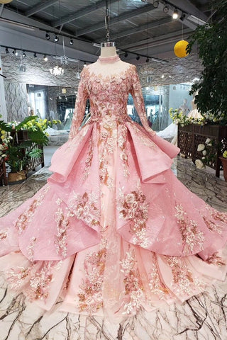 Long Sleeve Ball Gown High Neck With Lace Applique Beads Lace up Prom Dresses JS793