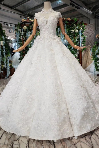 New Arrival Wedding Dresses Cap Sleeves High Neck Ball Gown With Appliques JS794
