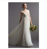 Beach New Style Elegant Modest V-Neck A-Line Backless Tulle Wedding Dresses