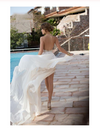 Sexy Lace Backless Long Chiffon High Neckline Halter Side Slit Wedding Dress