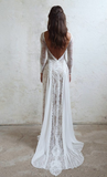 Ivory Sheath Brush Train Long Sleeve Backless Lace Wedding Dress Beach Wedding Dress JS476