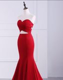 Gorgeous Strapless Sweetheart Sleeveless Open Back Mermaid Red Long Prom Dresses JS768