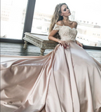 Chic Satin Prom Dresses Off the Shoulder Cheap Lace Sweetheart Wedding Dress JS520