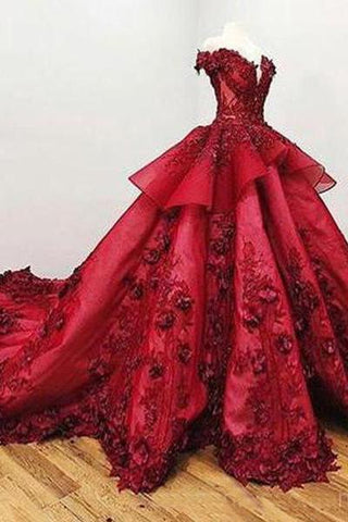 2019 Chic Ball Gown V Neck Beads Appliques Red Off-the-Shoulder Long Prom Dresses JS139