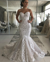 Sexy Mermaid Ivory Lace Appliques Backless Wedding Dresses Gowns