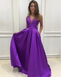 A Line Satin Floor Length Cheap V Neck Open Back with Pockets Long Prom Dresses JS60