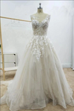 A Line Floral Appliques Beach Wedding Dresses Backless Tulle Boho Wedding Gowns