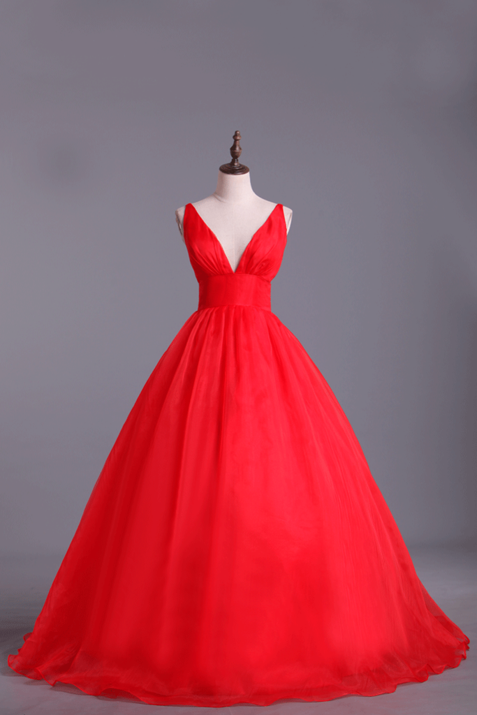 Deep V Neckline Prom Dress Organza Floor Length Backless Sexy Red