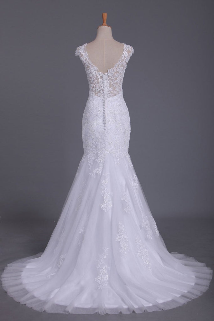 Mermaid Straps Open Back Wedding Dresses With Applique And Beads