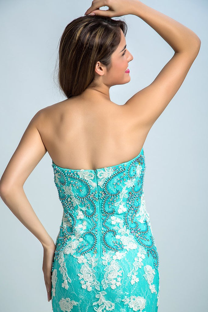 Prom Dresses Strapless Mermaid With Beading And Applique