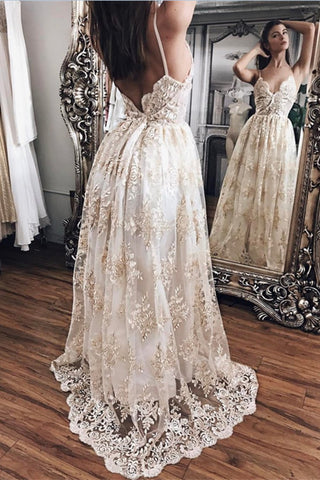 Pretty Champagne Lace Open Back V-Neck Prom Dresses Wedding Dresses