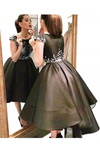 Prom Dresses Scoop Beaded Bodice Satin Asymmetrical A Line