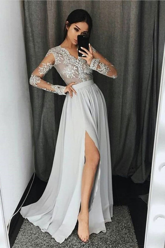 V Neck Long Sleeves Prom Dresses A Line With Applique And Slit