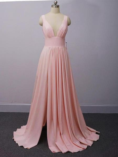 V Neck Satin Long Prom Dresses Simple Cheap Bridesmaid Dresses P1114